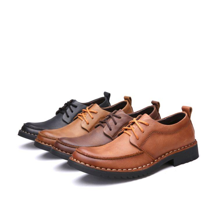 春秋季男鞋休闲皮鞋低帮擦色真皮头层牛皮面户外工装鞋手工休闲鞋