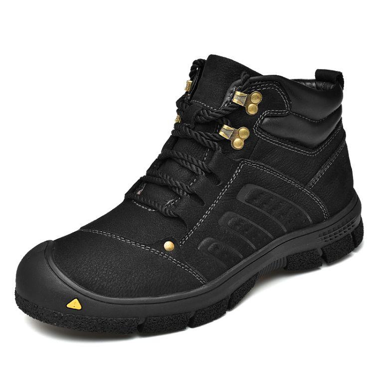 马丁靴男高帮皮靴黑色军靴百搭棉鞋英伦风秋季中帮工装短靴子潮鞋