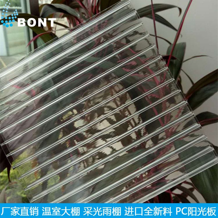 厂家直销山东10.0mm中空板采光雨棚车棚温室大棚专用透明PC阳光板