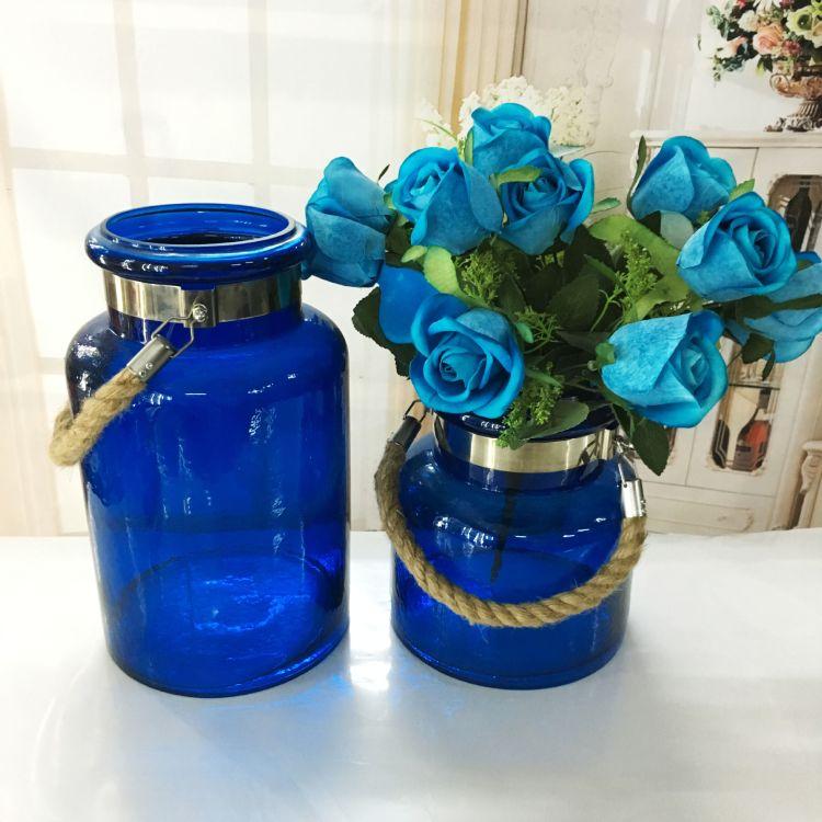 创意时尚玻璃花瓶彩色玻璃花瓶桌面摆件欧式客厅摆件
