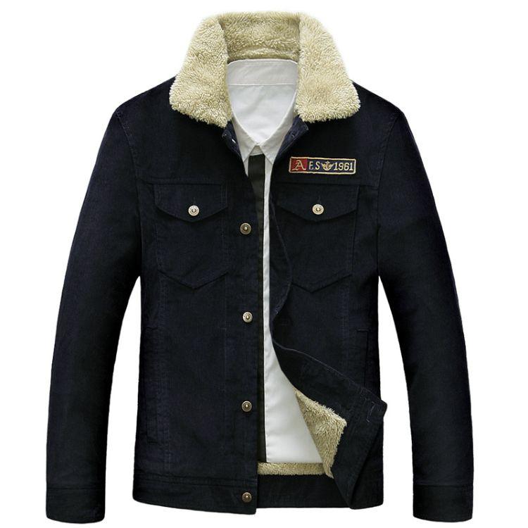 58128跨境男士灯芯绒海外专供加绒夹克立领大气休闲男装保暖外套