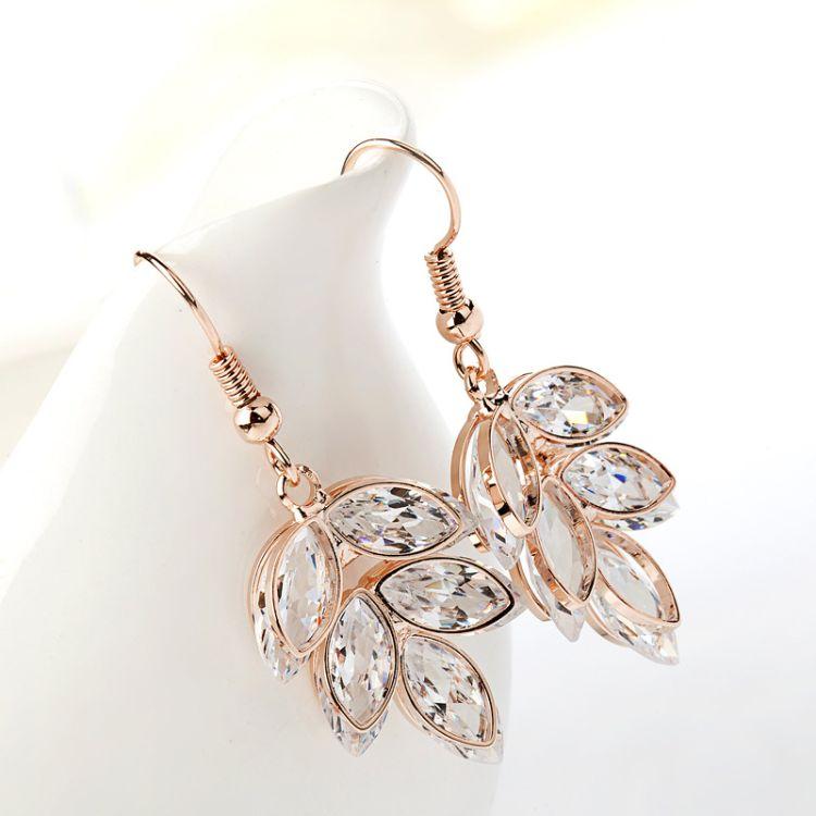 曼休妮甜美耳釘氣質女韓國版時尚耳環長款 簡約耳墜飾品百搭樹葉