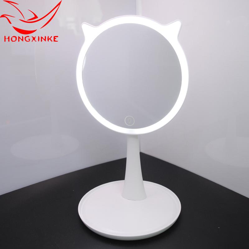 定制LED发光化妆镜 兔子造型塑料充电台式美容发光化妆镜子