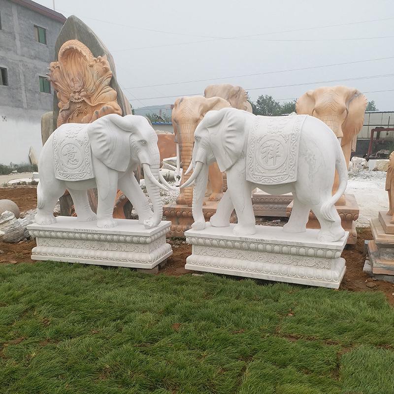 弘正雕塑-鎮宅石象一對門口擺件