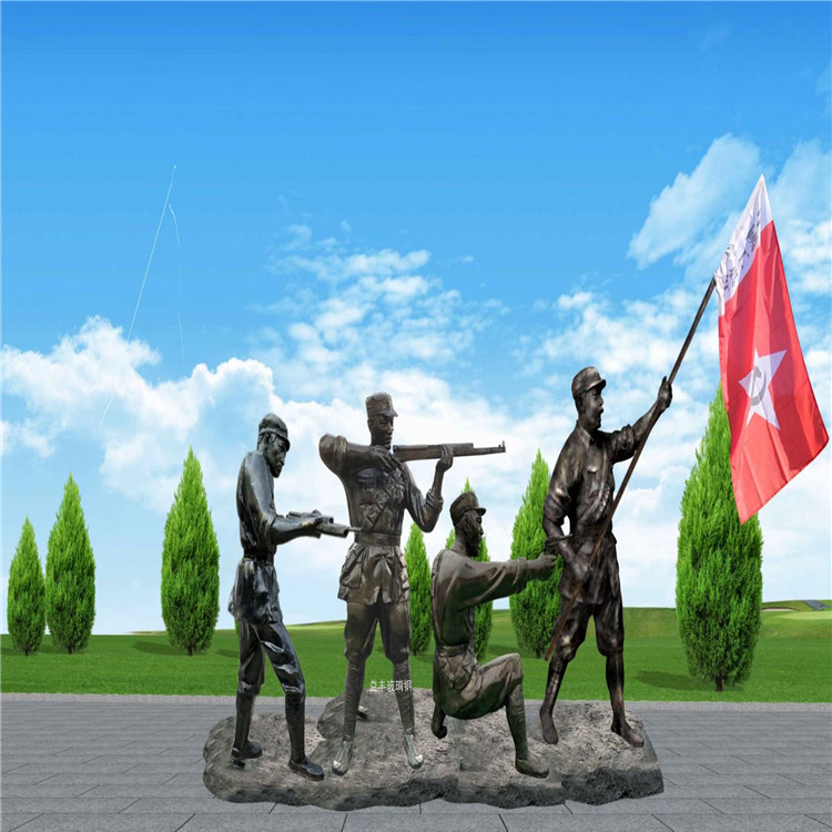 賀州玻璃鋼人物圓雕 紀念廣場仿銅人像玻璃鋼雕塑 益豐雕塑